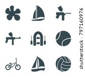 recreational icons. set of 9... | Shutterstock .eps vector #797160976