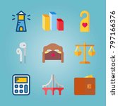 icon set about real assets.... | Shutterstock .eps vector #797166376