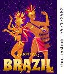 brazil carnival poster with...   Shutterstock .eps vector #797172982