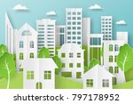 3d abstract paper cut... | Shutterstock .eps vector #797178952