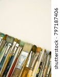 well used artists paintbrushes... | Shutterstock . vector #797187406