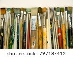 well used artists paintbrushes... | Shutterstock . vector #797187412