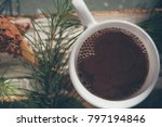 cocoa drink in white cup | Shutterstock . vector #797194846