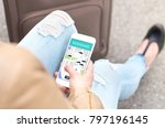 rideshare app on smartphone.... | Shutterstock . vector #797196145