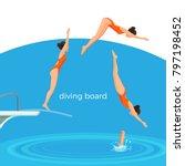 diving board and female swimmer ... | Shutterstock .eps vector #797198452