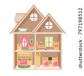 doll house with two storeys and ... | Shutterstock .eps vector #797198512