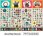 big set of cute monsters .... | Shutterstock .eps vector #797210332