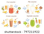 fruit and protein smoothies... | Shutterstock .eps vector #797211922