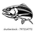 salmon fish.vintage salmon... | Shutterstock . vector #797214772