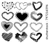 doodles set of valentines day... | Shutterstock .eps vector #797216596