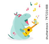 vector image of a funny singing ... | Shutterstock .eps vector #797231488