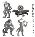 evil monster werewolf pack | Shutterstock .eps vector #797238592