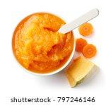 pumpkin and carrot baby puree... | Shutterstock . vector #797246146