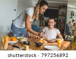mother and daughter having... | Shutterstock . vector #797256892