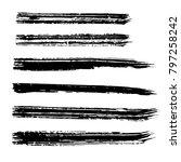 brush stroke set. texture. | Shutterstock .eps vector #797258242