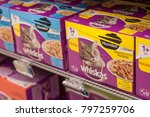 Small photo of Mulhouse - France - 19 January 2018 - closeup of Whiskas packets the french brand of cat food in Cora supermarket
