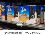 Small photo of Mulhouse - France - 19 January 2018 - closeup of Felix packets the french brand of cat food in Cora supermarket