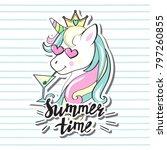 beautiful unicorn head with... | Shutterstock .eps vector #797260855