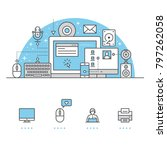 computer banner and icons with... | Shutterstock .eps vector #797262058