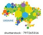 vector ukraine map_colored... | Shutterstock .eps vector #797265316