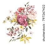 watercolor flowers. floral... | Shutterstock . vector #797267422