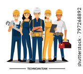 technician and builders and... | Shutterstock .eps vector #797268892