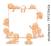 Cute little babies near blank text frame. Happy children in diapers stand, sit,crawl, sleep, waving hand. Kids holding white banner.  Active toddlers. Baby health and care vector illustration.   Shutterstock vector #797270416