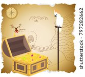 treasure chest with map. pirate ... | Shutterstock .eps vector #797282662