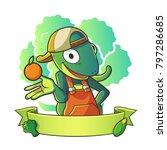 mascot lizard wearing hat half... | Shutterstock .eps vector #797286685