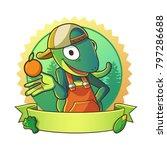 mascot lizard wearing hat half... | Shutterstock .eps vector #797286688