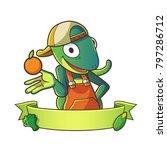 mascot lizard wearing hat half... | Shutterstock .eps vector #797286712