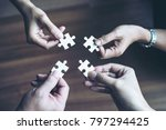 close up hand of group business ...   Shutterstock . vector #797294425