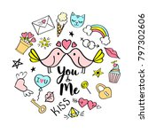 you and me lettering with girly ... | Shutterstock .eps vector #797302606