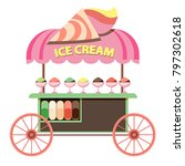 ice cream cart market and stand ... | Shutterstock .eps vector #797302618