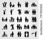humans icon set vector. mom ... | Shutterstock .eps vector #797303332