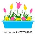 vector tulips and easter eggs... | Shutterstock .eps vector #797309008
