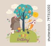 cartoon animals celebrating... | Shutterstock .eps vector #797313202