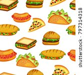 illustration of fast food... | Shutterstock .eps vector #797314318