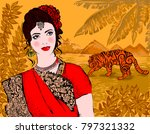 beautiful indian woman on a... | Shutterstock .eps vector #797321332