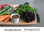 raw vegetables on a chopping... | Shutterstock . vector #797337175