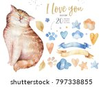Stock photo watercolor cute isolated cat ilustration love cartoon cats character for valentine s card nursary 797338855
