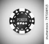 Black Casino Chip Icon. Casino...