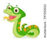 cartoon cute green smiles snake ... | Shutterstock .eps vector #797352022