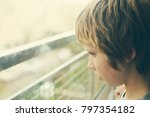 cute 10 years old autistic boy... | Shutterstock . vector #797354182