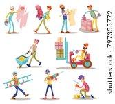 construction workers vector... | Shutterstock .eps vector #797355772