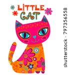 little cat illustration.... | Shutterstock .eps vector #797356558