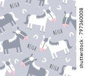 seamless grey horses pattern...   Shutterstock .eps vector #797360008