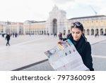 happy female traveler on a trip ... | Shutterstock . vector #797360095