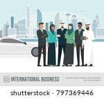 muslim arab businesspeople... | Shutterstock .eps vector #797369446