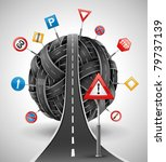 Tangle Ball Of Roads With Sign...